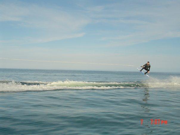Rider wake-boarding