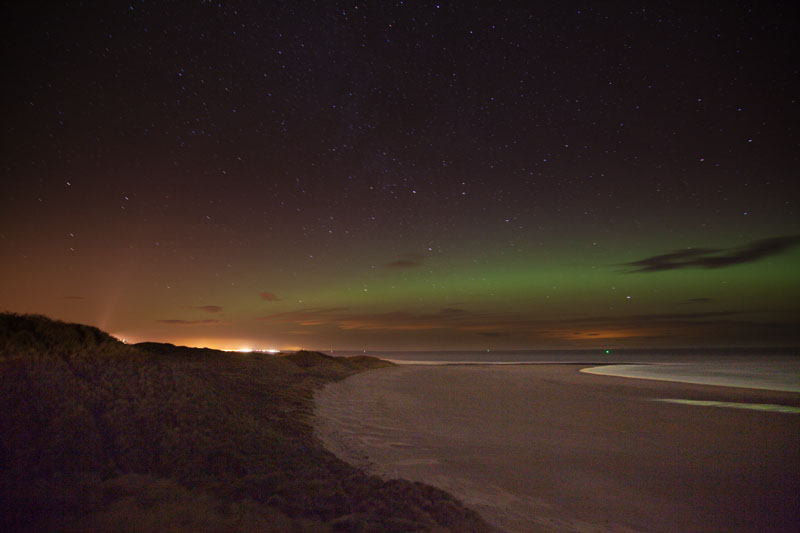 Aurora Borealis over Bamburgh Beach